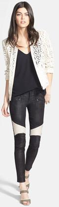 Chelsea28 Faux Leather Trim-Crocheted-Jacket