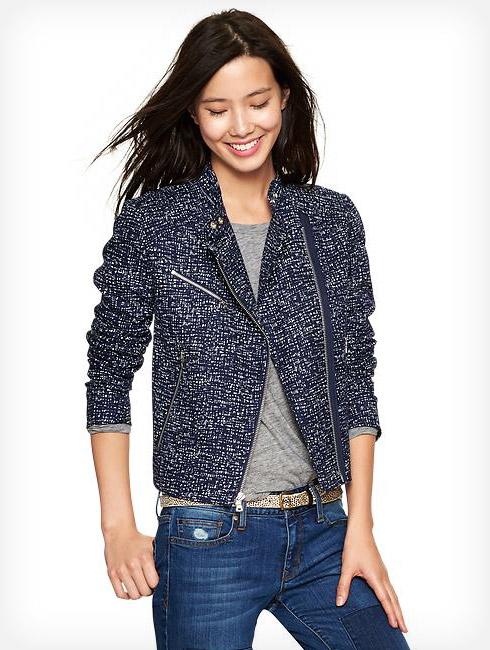 Gap Printed Tweed Moto Jacket