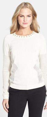 Rachel Roy Studded Mesh Knit Top