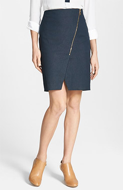 Vince Camuto Smart Denim Asymmetrical Zip Skirt