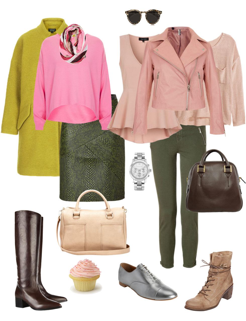 Ensemble: Olive & Pink