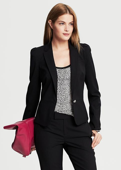 Banana Republic Black Lightweight Wool Puff Sleeve Blazer