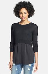 DEX Crop Sweater with Woven Hem