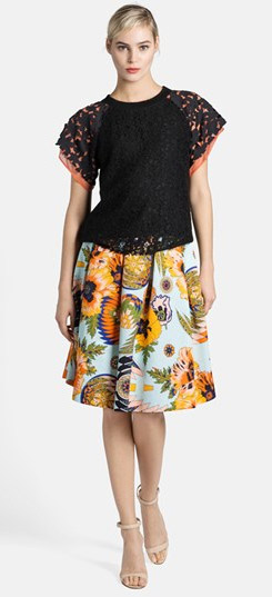 MSGM Lace Top & Pleated Skirt