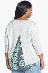 Sejour Mixed Media Split Back Sweater