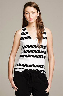 Banana Republic Rope Print V-Neck Tank