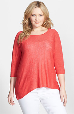 Eileen Fisher Bateau Neck Organic Linen Top