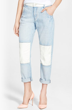 MINKPINK Faux Leather Detail Boyfriend Jeans