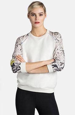 MSGM Snake Contrast Sleeve Cotton Sweatshirt