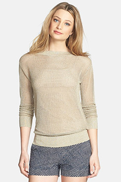 Michael Kors Boatneck Metallic Knit Sweater