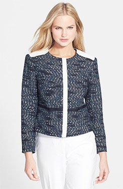Rachel Roy Faux Leather Trim Tweed Jacket