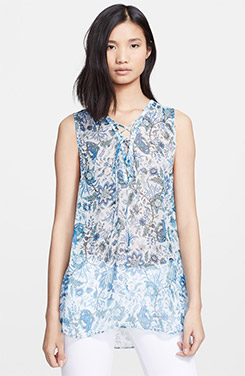 Rachel Zoe Magnolia Lace Up Print Silk Tunic