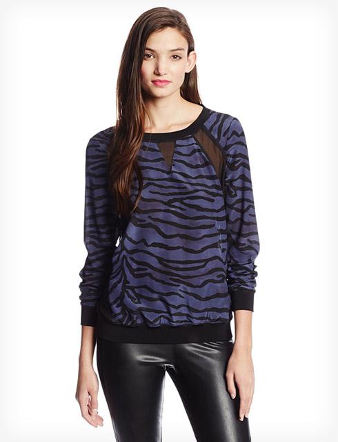 Rebecca Taylor Womens Long Sleeve Tiger Silk Sweatshirt