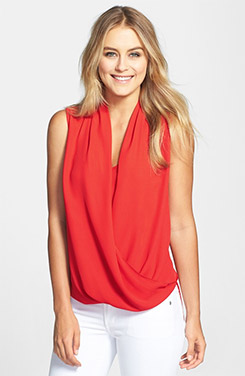 Vince Camuto Sleeveless Wrap Front Shirttail Blouse
