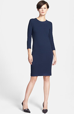 Vince Three Quarter Sleeve Pencil Sheath Dress
