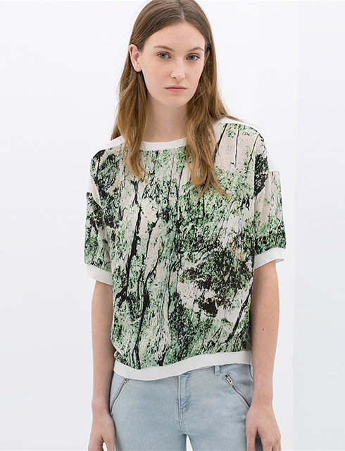 Zara Abstract Print Blouse