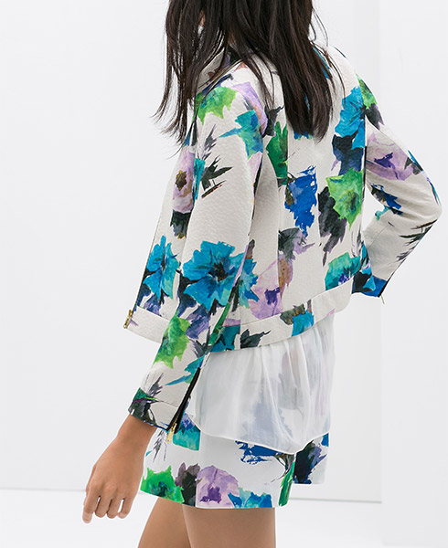 Zara Printed Blazer with Faux Leather Piping