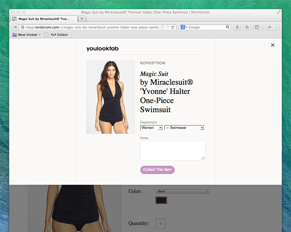 Bookmarklet on Nordstrom.com