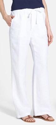 Caslon Drawstring Waist Linen Pants