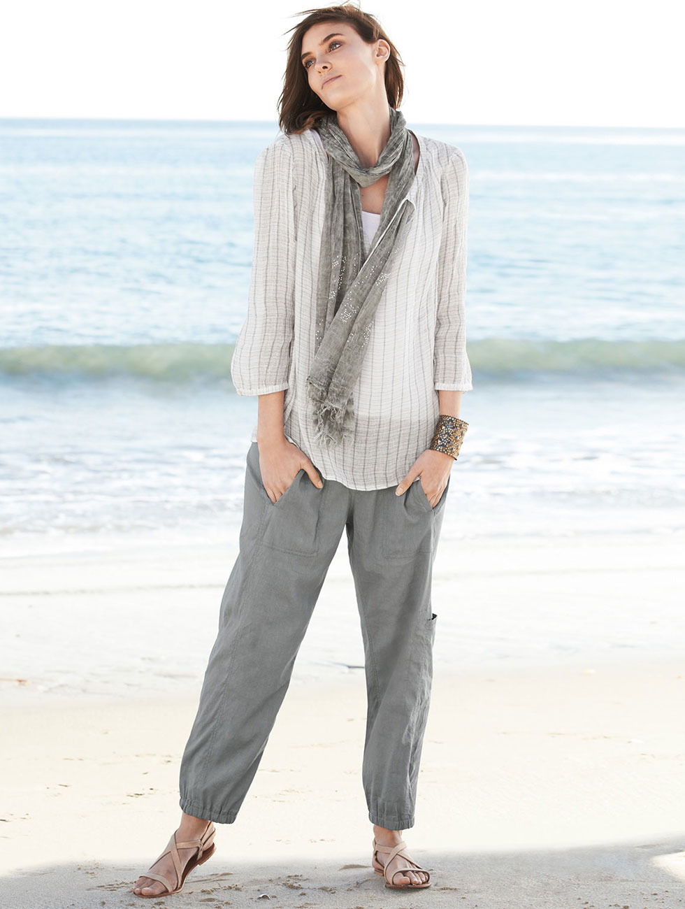 Eileen Fisher Cargo Linen Blend Ankle Pants
