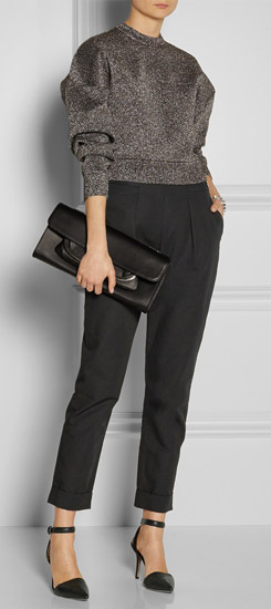 Pair Black Ankle Pants with Black Ankle Straps - YLF