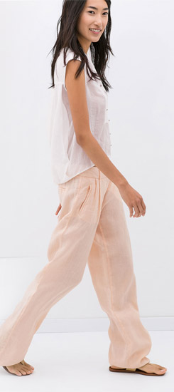 Zara Linen Trousers with Front Pleat