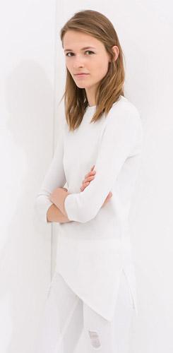 Zara Sweater with Asymmetrical Hem