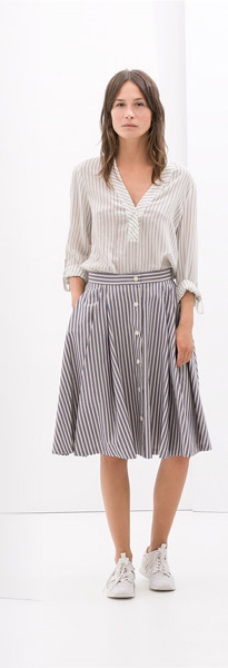 Zara Striped Full Skirt