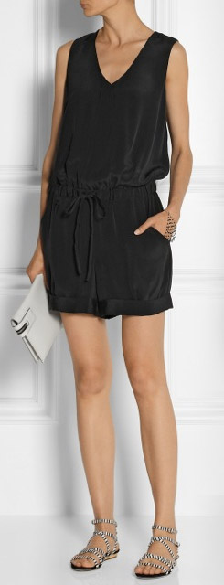 MILLY Washed Silk Playsuit