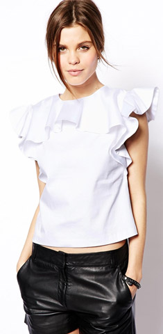 ASOS Shell Top with Ruffle Neck