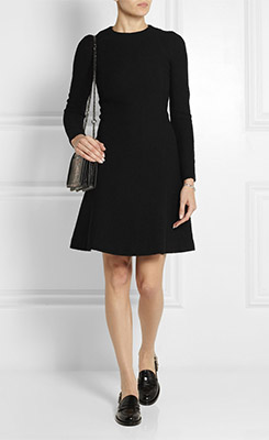 CARVEN Seersucker Wool Blend Dress