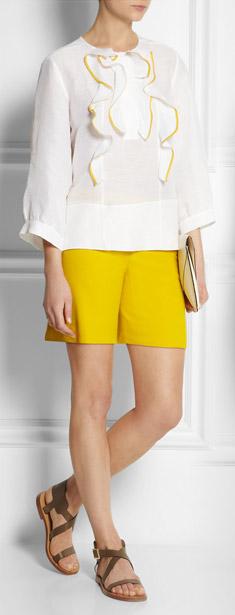 Chloe Ruffled Linen and Silk Blend Top