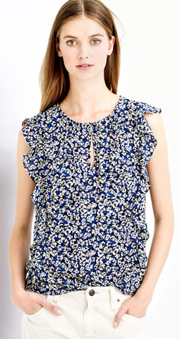 J.Crew Cascade Blouse in Blue Floral