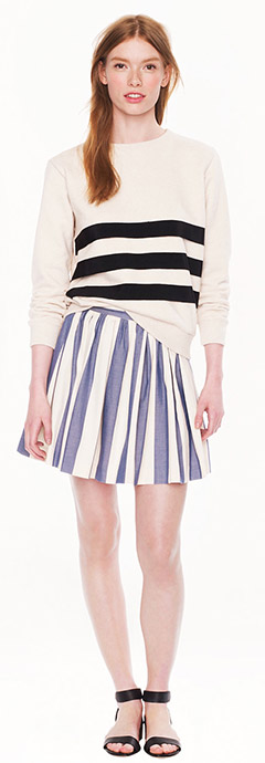 J.Crew Maison Kitsune Stripe Skater Skirt