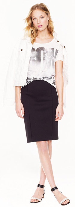 J.Crew Zip Back Surf Pencil Skirt