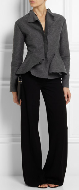 Lanvin Wool Blend Grosgrain Peplum Jacket