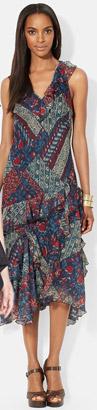 Lauren Ralph Lauren Ruffled V-Neck Sleeveless Dress