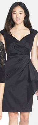 Marina Stretch Taffeta Faux Wrap Dress