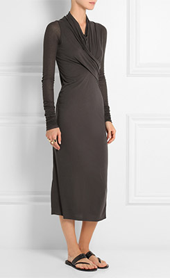 RICK OWENS LILIES Stretch Jersey Midi Dress