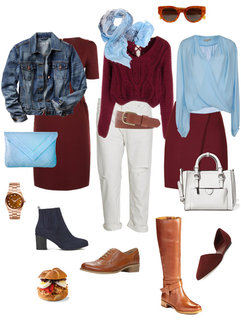 Ensemble: Dark Red and Light Blue
