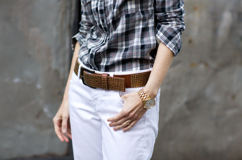 Button Downs - Plaid Shirt & Belt