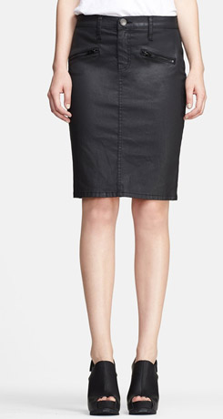 Current Elliott The Soho Zip Coated Denim Pencil Skirt