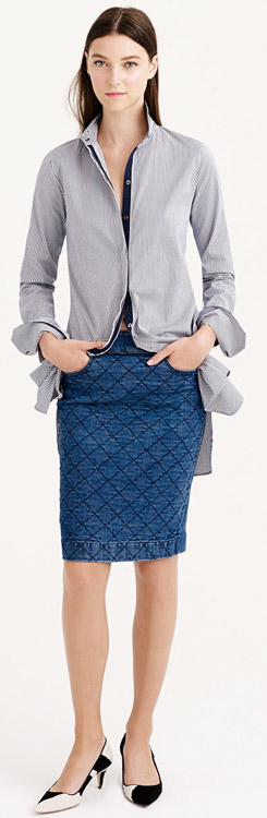 J.Crew Quilted Denim Pencil Skirt