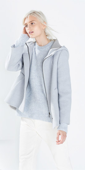 Zara Short Wool Jacket With Hood