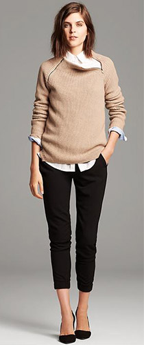 Banana Republic Textured Zip Neck Pullover