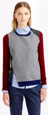 J.Crew Merino Wool Asymmetrical Zip Sweater in Colorblock