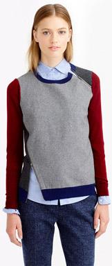 J.Crew Merino Wool Asymmetrical Zip Sweater in Colorblock