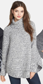 MICHAEL Michael Kors Turtleneck Poncho Sweater