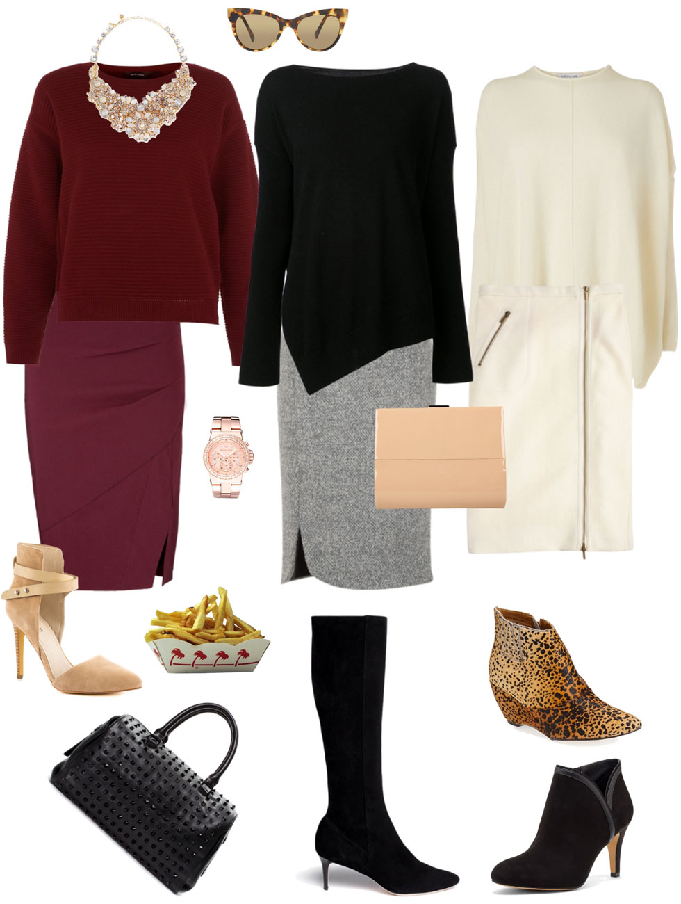 Ensemble: Relaxed Pencil Skirt & Pullover