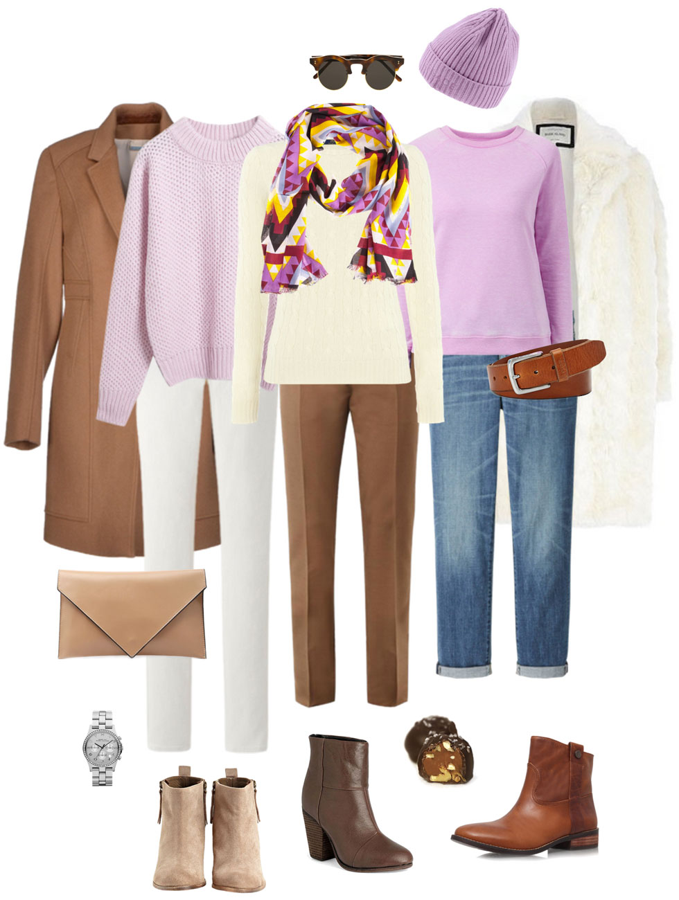 Ensemble: Lilac, Toffee & White